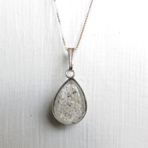 Drop Cremation Ash Necklace Pendant Memorial Jewelry Silver Stainless Hypoallergenic