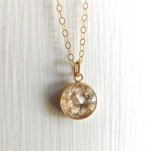 Simple Gold Ash Necklace Cremation Jewelry