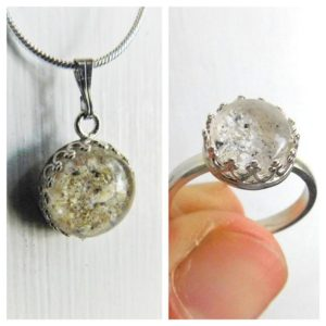 sterling silver crown ash urn necklace ring jewelry